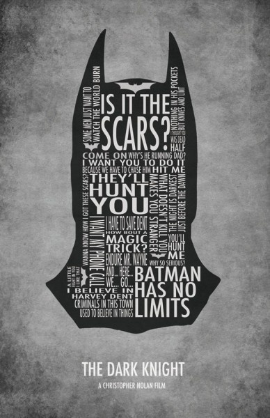 Batman Typography Poster, the head of batman has been made up by type.