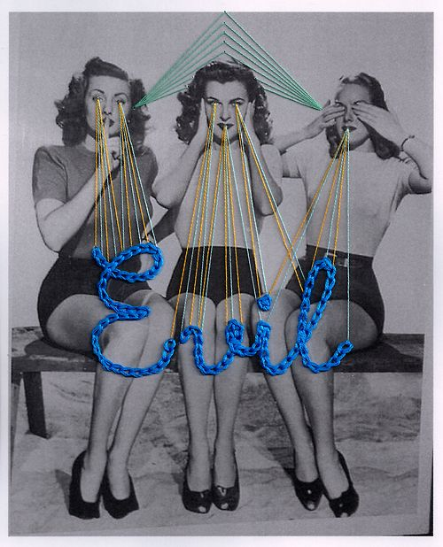 evil: Where Morimoto, Inspiration, Embroidery, Art, Collage, Evil, Embroidery, Textile