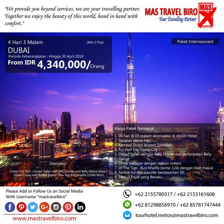 Promo Tour DUBAI, Yuks di pilih masih banyak lagi promo Tour Domestik dan Internasional😊  (Paket tour belum termasuk tiket pesawat)  Beli tiket pesawat & KAI, booking hotel dan beli paket tour diMas Travel Biro ajaa.  #mastravelbiro #promotiket #travelservices #tiketpesawat #travelagent #tourtravel #travelindonesia #opentrip #familytour