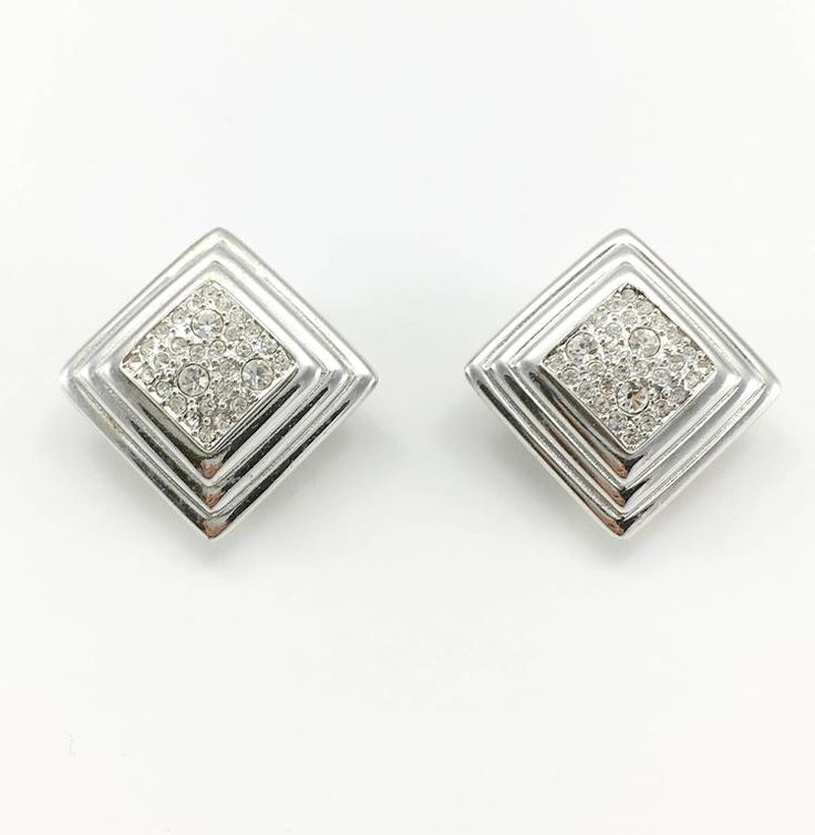 Dior Art Deco Style Diamanté Embellished Stepped Lozenge Earrings - 1980's