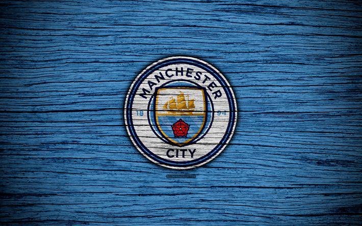 Download wallpapers Manchester City, 4k, Premier League, logo, England, wooden texture, FC Manchester City, soccer, Man City, football, Manchester City FC