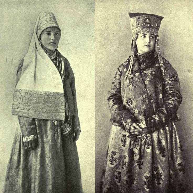 19th century photographs of Russian women in traditional costume and headdresses.