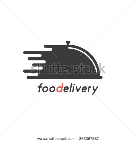 food delivery with black dish. concept of on-line supermarket, maintenance catering, transportation, tray, chef. isolated on white background. flat style trendy modern brand design vector illustration