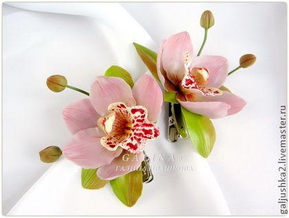 Заколка Орхидея цимбидиум розовая. Холодный фарфор. - розовый,заколка для волос