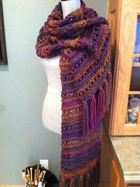 Jewel-Toned Eyelet & Stockinet Stitch Prayer Shawl By Louis Chicquette - Free Knitted Pattern - (ravelry)