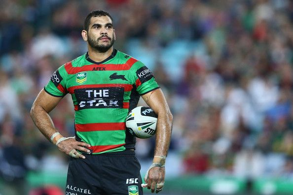 Greg Inglis of the Rabbitohs watches the big screen for a video referee decision during the round nine NRL match between the South Sydney Rabbitohs and the North Queensland Cowboys at ANZ Stadium on May 10, 2013 in Sydney, Australia.