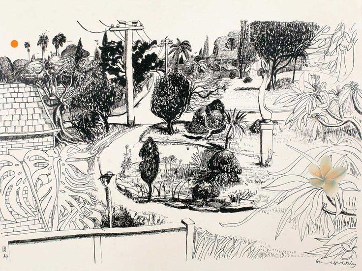 BRETT WHITELEY, LINDFIELD GARDENS, colour screenprint in 2 colours with offset lithography, 1978