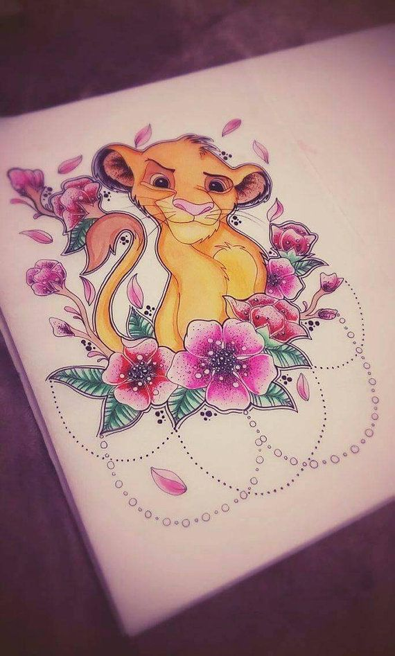 Simba A4 laminated print tattoo design by LadyEvzArt on Etsy