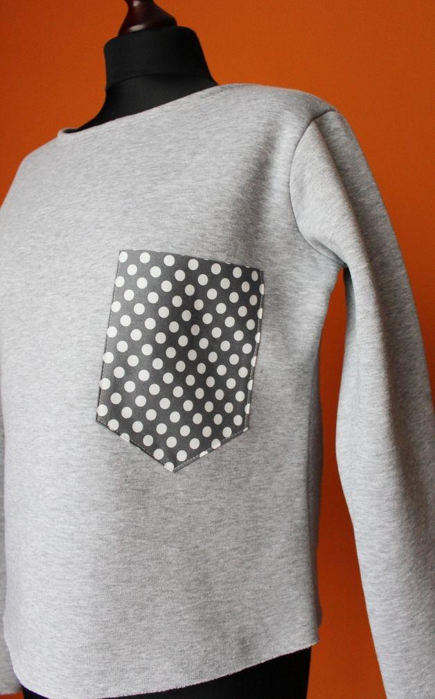 RoomStyle Bluza Siwa Melanż Kieszonka Kropki M - RoomStyle - Bluzy