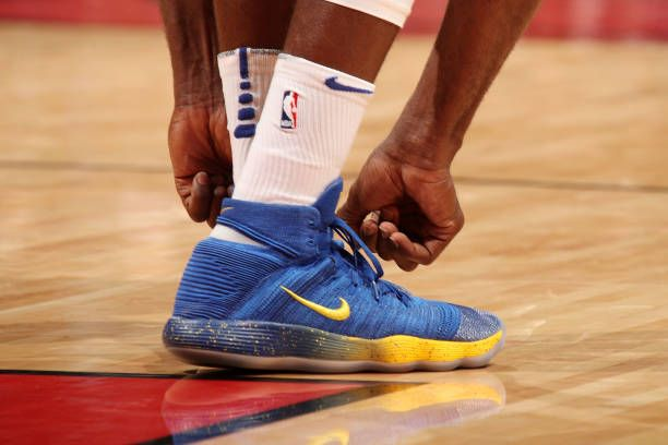 the shoes worn by Draymond Green of the Golden State Warriors are seen during the game against the Miami Heat on December 3 2017 in Miami Florida...