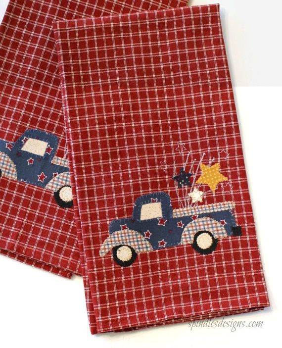 4th Of July Kitchen Towel Americana Towel Applique Towel Truck