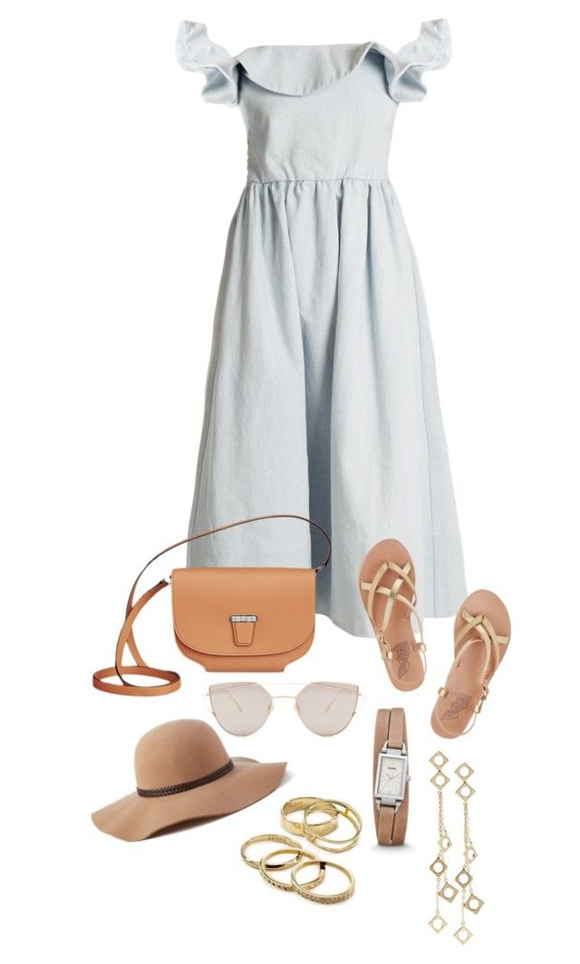 """Untitled #137"" by kryssicha on Polyvore featuring Apiece Apart, Ancient Greek Sandals, Gentle Monster, Scala, FOSSIL, Kendra Scott and Arme De L'Amour"
