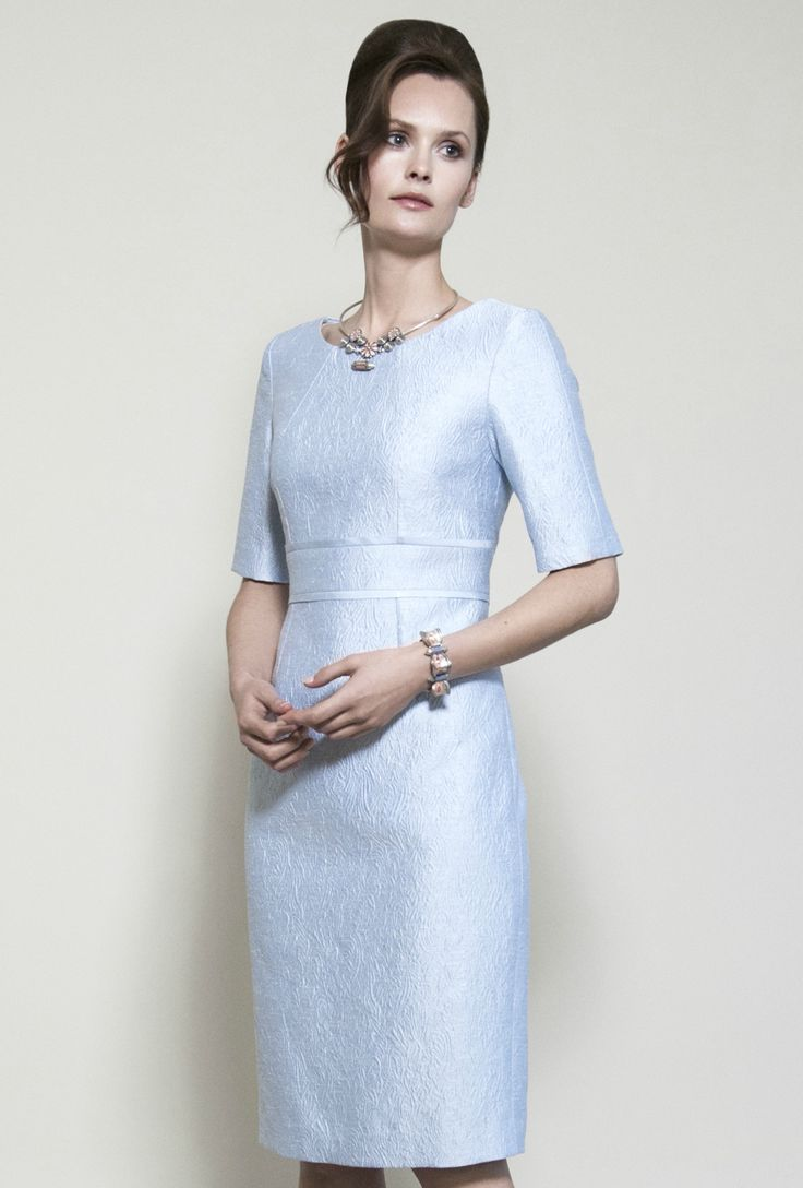 Pale Blue Silk Brocade Dress with Sleeves - Annie