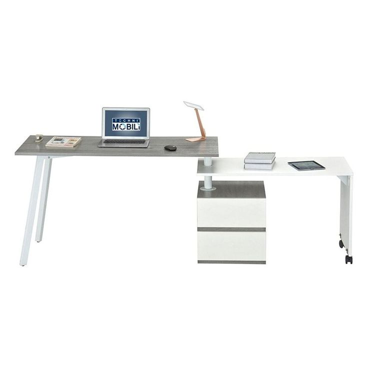 """Features: -3 Customizable desk positions. -Wide working space. Top Color: -Gray. Base Color: -White. Desk Type: -Computer desk. Dimensions: Overall Height - Top to Bottom: -30"""". Overall Width - Side to Side: -51"""". 