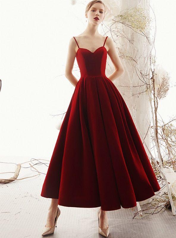 eaea7b4c1b5 Shop 2019 Long   Short Burgundy Velvet Spaghetti Straps Backless Ankle  Length Prom Dress With Factory