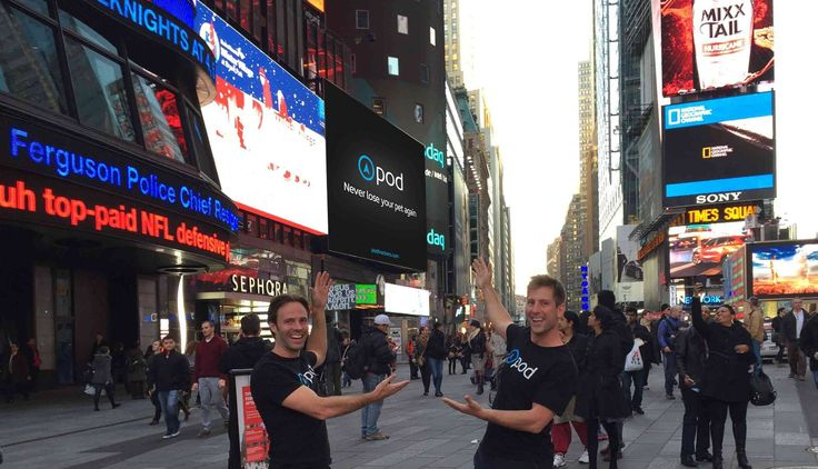 NY time square, with Damien and Sebastian, the Pod founders.