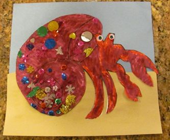 Tess had a great time. I even got sandpaper to make the sand. Although she pasted the hermit crab to the sky, so....it seemed like a waste, but she had fun.