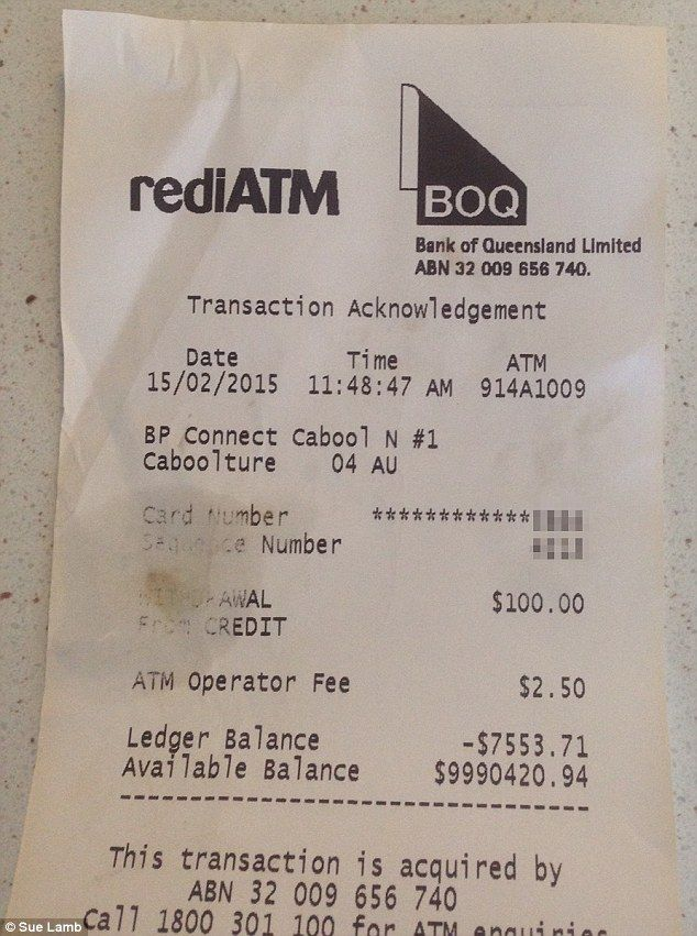 Ms Lamb used a Bank of Queensland ATM to withdraw $100 from her ANZ bank account on Saturday and the bank receipt said her available balance was $9,990,420.94