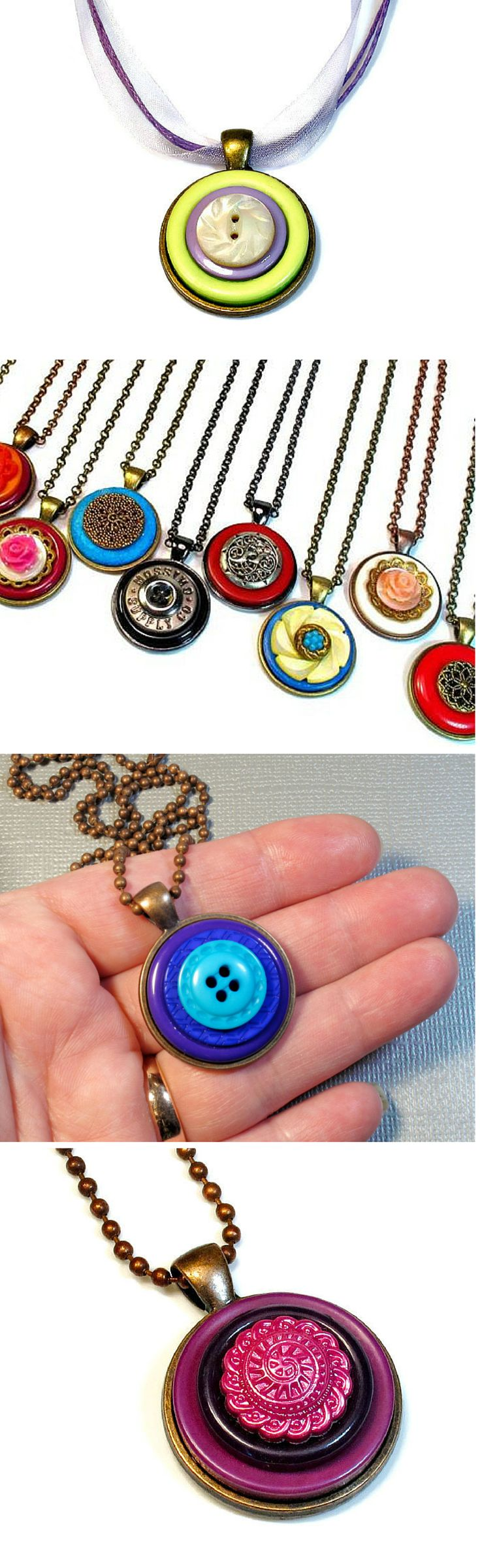 Button jewelry, necklace pendants on Etsy by BluKatDesign. Find them HERE: https://www.etsy.com/shop/BluKatDesign?section_id=17077952&ref=shopsection_leftnav_5