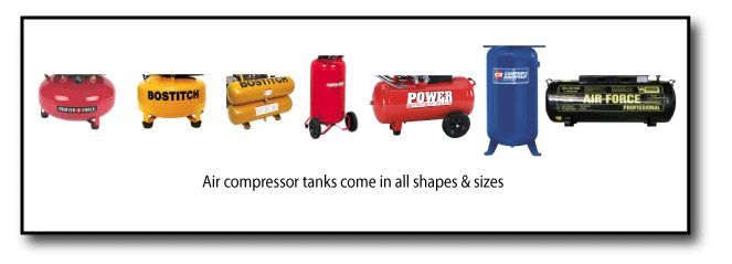 Air compressor tanks come in all shapes or sizes. When considering a new compressor, take into account the tank size. A good rule of thumb is a bigger tank is better than a small compressor tank. See why here.