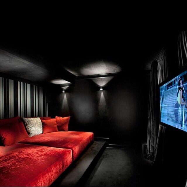 Make Your Own Private Cinema Look Like This Red N Black Wex Room Home Cinema Room Media