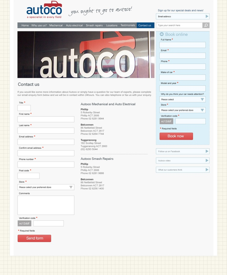 Presentation web site layout for an Australian auto service - contact page.