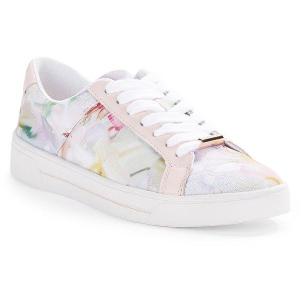 Ted Baker London Eyewo Floral Lace-Up Sneakers ($90) ❤ liked on Polyvore featuring shoes, sneakers, white multi, white platform shoes, lace up sneakers, lace up shoes, floral shoes and white trainers