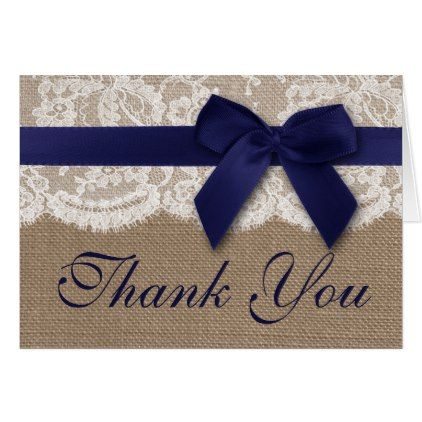 Navy Ribbon On Burlap & Lace Wedding Thank You Card - romantic wedding gifts wedding anniversary marriage party