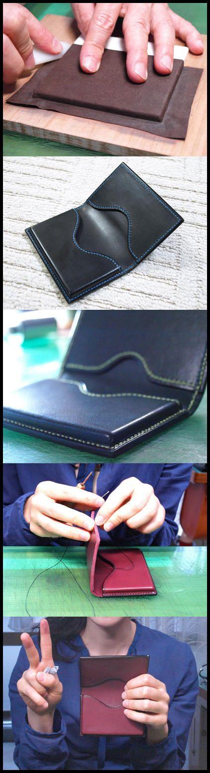 タンニン鞣し革の可塑性に富んだ特性を学んでもらえるように絞りの名刺入れを製作します。みなさん手縫いも随分上手になりましたね。ピ~ス♪