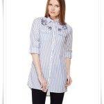LCW mavi çizgili bayan uzun gömlek