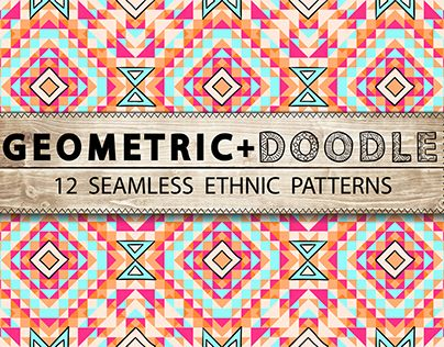 Colorful geometric pattern with elements of doodling.