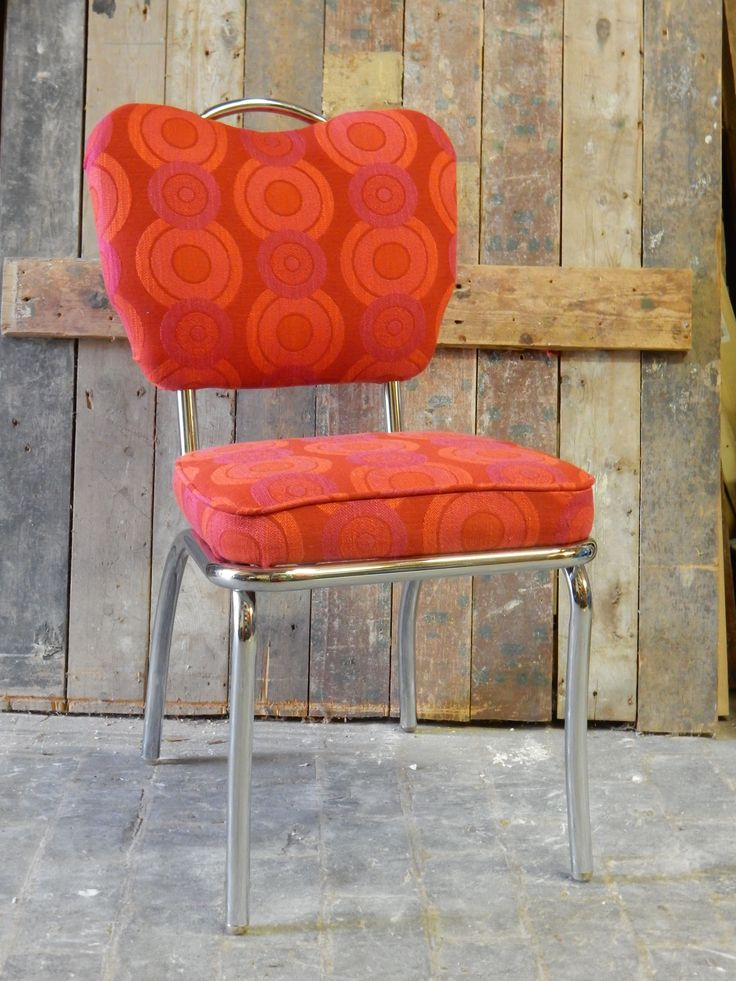 retro diner chair with orange and red retro fabric