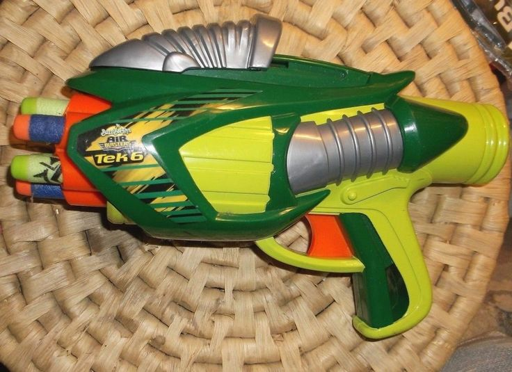 "BUZZ BEE TOYS 9"" RUFF STUFF AIR BLASTER TEK SIX DART SINGLE FIRE GREEN GUN 2005 #BuzzBeeToys"