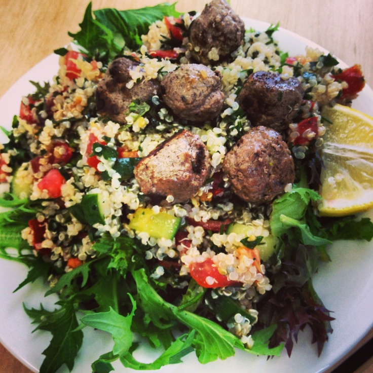 Desk lunch today - luckily here is something I prepared earlier! @12wbt Spiced Lamb Meatballs with Tabouli