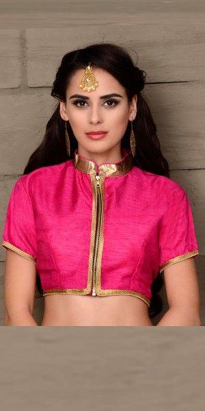 Eye-Catchy Pink Silk Designer Blouse.