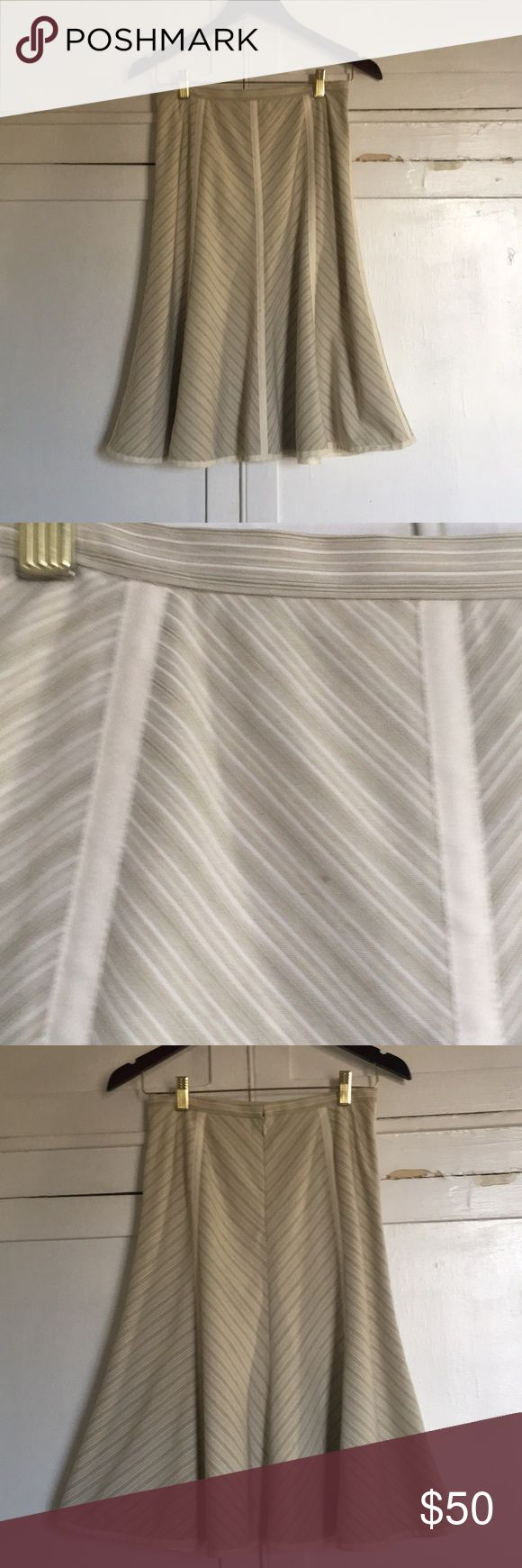 Antonio Melani beige trumpet skirt Beautiful trumpet skirt, striped. Excellent condition, one tiny spot on the front, pictured. size 2. ANTONIO MELANI Skirts Midi