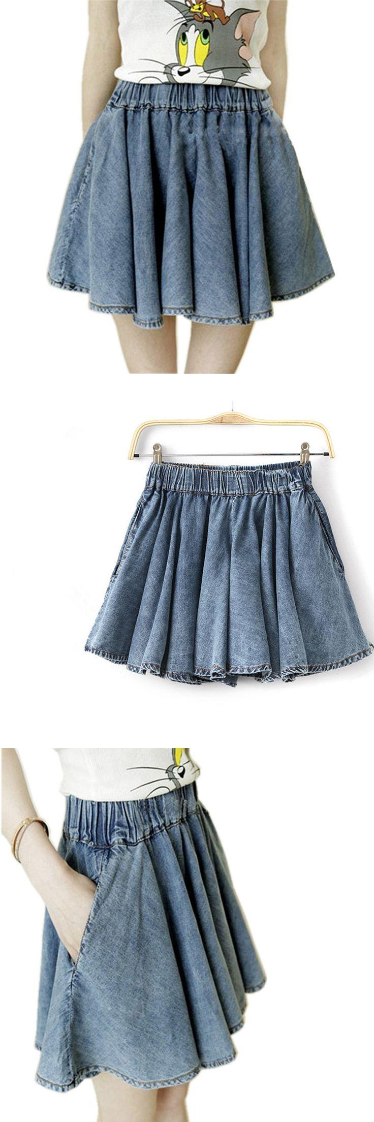 2017 New Summer Fashion Casual Womens Denim Skirts female Elastic Waist Jeans Culottes Short Skirt jupes mujer