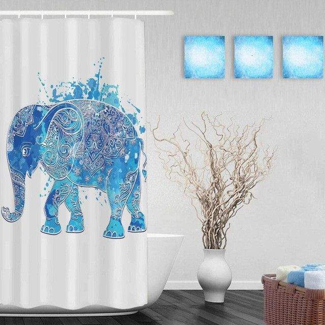 Lovely Blue African Elefhant Shower Cutains Cute Animal Decor Bathroom Shower Curtains Polyester Waterproof Fabric With Hooks