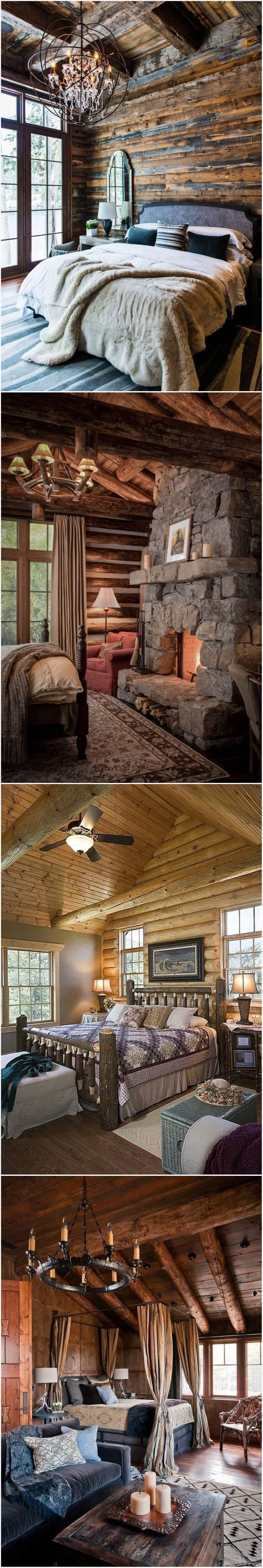 Log Home Rustic Bedroom Designs ⭐️