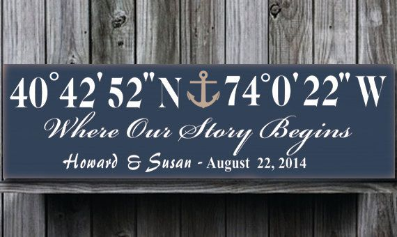 Personalized Wedding Anchor GPS SignGPS by doudouswooddesign, $38.00