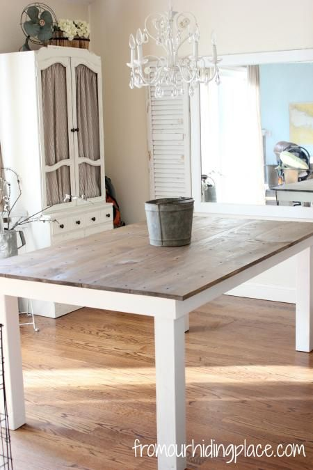 Rustic farmhouse table do it yourself home projects from ana white kitchen tutorials - Ana white kitchen table ...