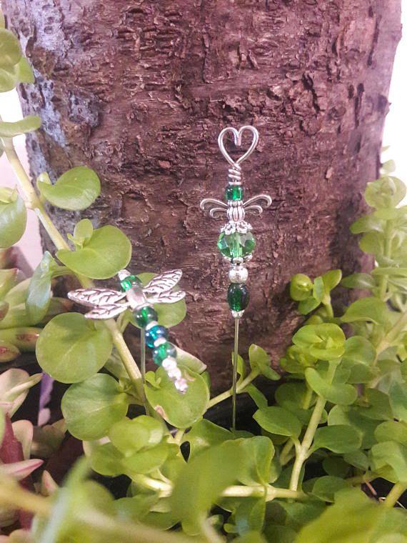 Fairy Garden stakes  Miniature garden  Dragonfly / Angel