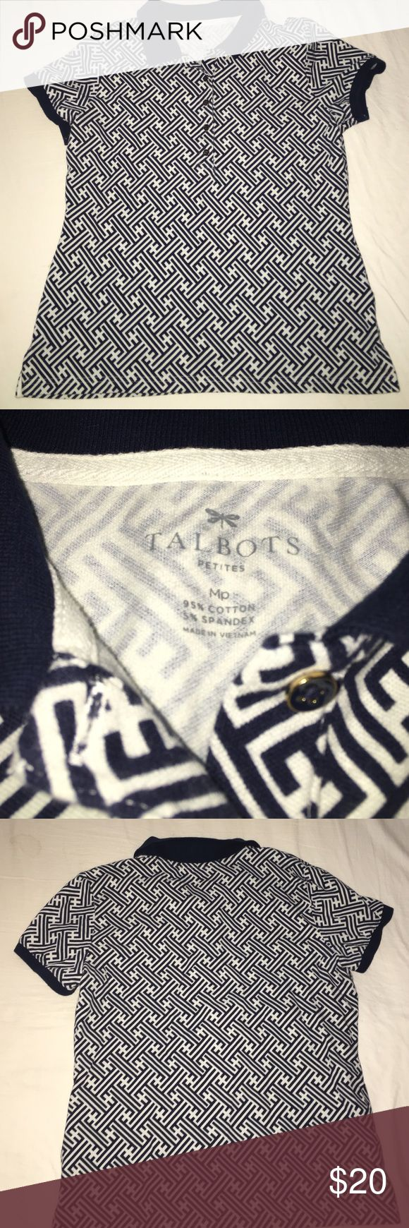 Talbots Shirt This is a medium Talbots collared shirt with four buttons. It's like new and has no tears or stains. It's a navy blue and white color. Talbots Tops Tees - Short Sleeve