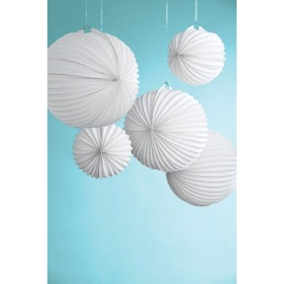 Lampiony papierowe -  Doily Lace - White Accordion - Martha Stewart