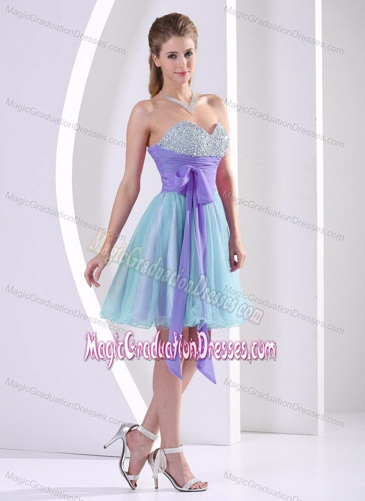 Lovely Multi-color Beaded Sweetheart Short Prom Dress for Grad with Sash