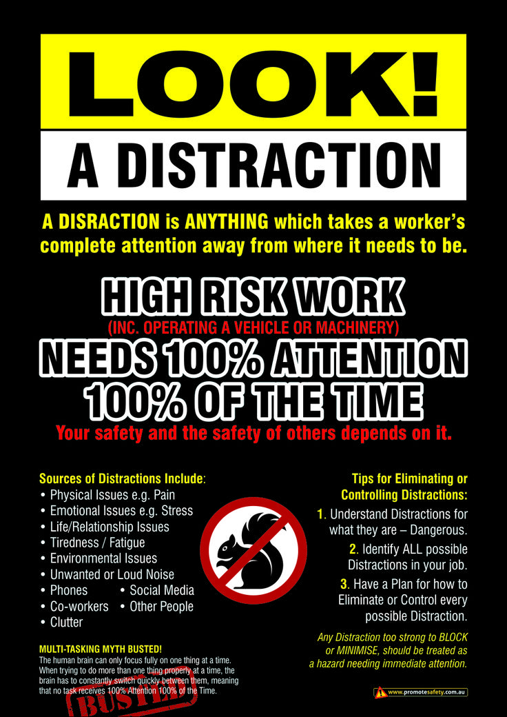 The biggest danger at work is distractions. Workplace ...