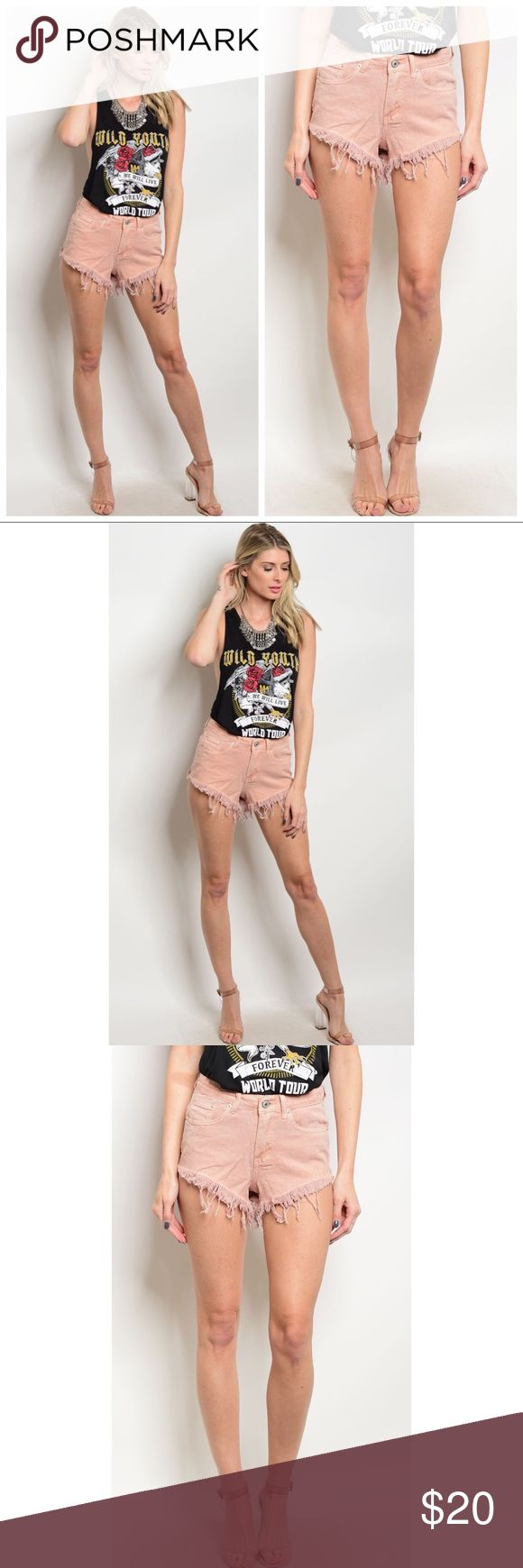 Pink Peach Jean Cutoff Shorts S M L Pink Peach Jean Cutoff Shorts, 100% Cotton. Available in size small, medium, or large. ARRIVING WEDNESDAY/SHIPPING THURSDAY!  No Trades, Price Firm unless Bundled.  BUNDLE 3 OR MORE ITEMS FOR 15 % OFF. Couture Gypsy Shorts Jean Shorts