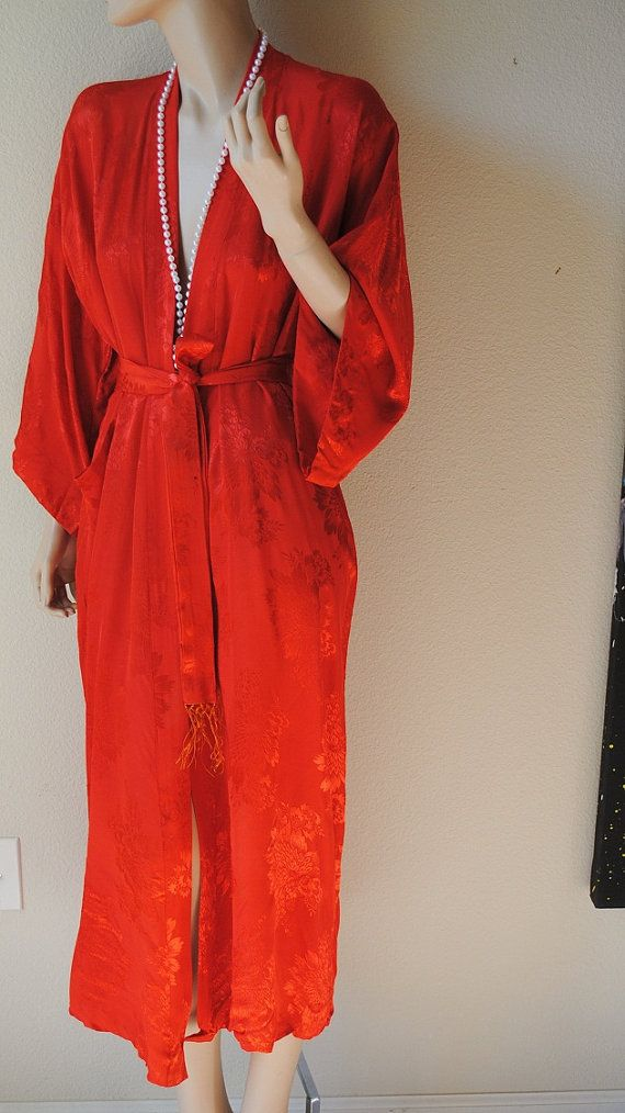 Vintage Red Palace Brocade Long Japanese Robe  by LingerieAddicts, $50.00