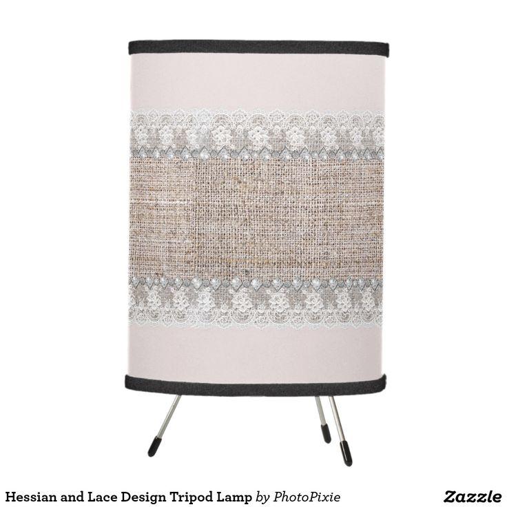 Hessian and Lace Design Tripod Lamp