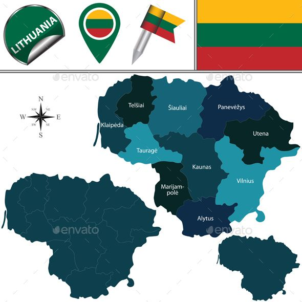 Map of Lithuania with Named Counties by sateda2012 Vector map of Lithuania with named counties and travel icons. Package contains: EPS (10 version), JPG (50005000 pixels, RGB).
